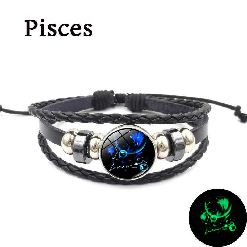 Новый 12 Созвездие светящийся стеклянный браслет для мужчин кожаный браслет, бусина браслеты Мальчики Женщины Девушки ювелирные изделия аксессуары Подарки