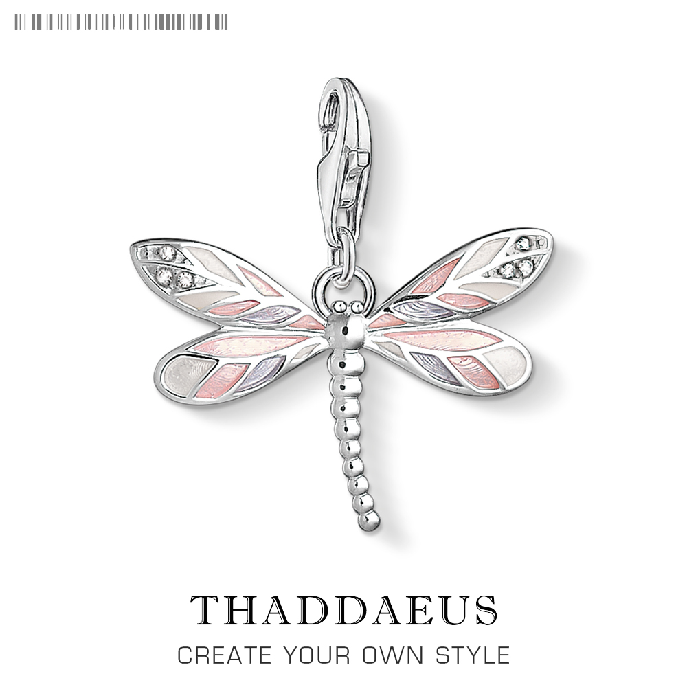 Dragonfly Pink Charms Pendant Thomas DIY Jewelry Findings Accessories 925 Sterling Silver Fashion Jewelry Ts Gift For Women Girl