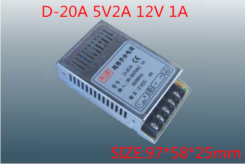 20W Dual Output Switching power supply Output Voltage 5V 12V AC-DC  D-20A free shipping120w mini dual output switching power supply output voltage 5v 24v ac dc d 120b