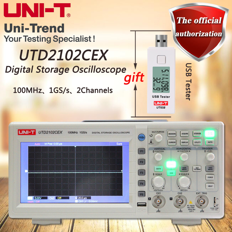 UNI-T UTD2102CEX 100MHz digital storage oscilloscope / 2 channel / 1GS / s sampling rate uni t utd2102cex digital oscilloscope 100mhz bandwidth with usb otg interface 2 channels storage portable oscilloscope