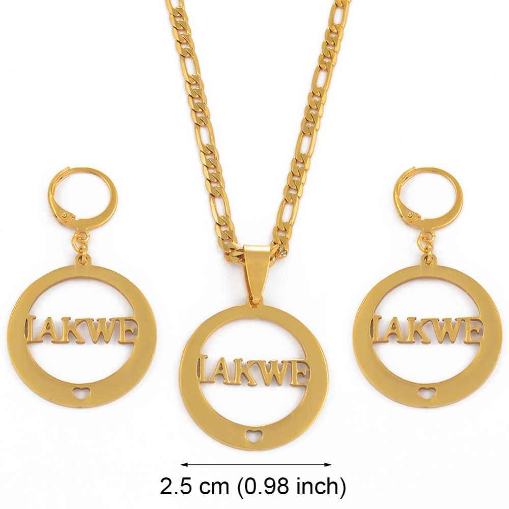 Anniyo CAN NOT CUSTOMIZE THE NAME / Name IAKWE Pendant Necklaces and Earrings for Women Gold Color Jewelry Gifts #033321