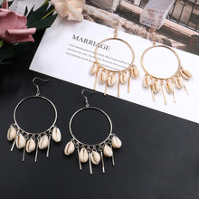 New vintage jewelry earring Antique big round circle golden drop earrings for women gifts Crystal shells wooden beads earing E49(China)