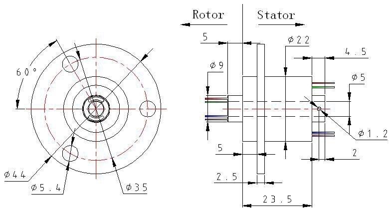 Поперечное отверстие проводящих скольжения кольцо диафрагмы 5 мм 2-12 дорога 2A полый вал кольцо колесо поворотный разъем