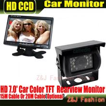 "Factory Selling 18 IR Reverse Camera +NEW 7"" LCD Monitor+Car Rear View Kit car camera BUS And Truck parking sensor ZJ"