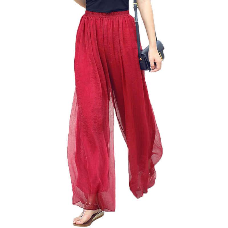 2018ฤดูร้อนขนาดบวกสูงขากว้างกางเกงของเหลวบางแฟชั่นกางเกงหญิงแฟนซีฟุตตรงบูตสบายๆตัด