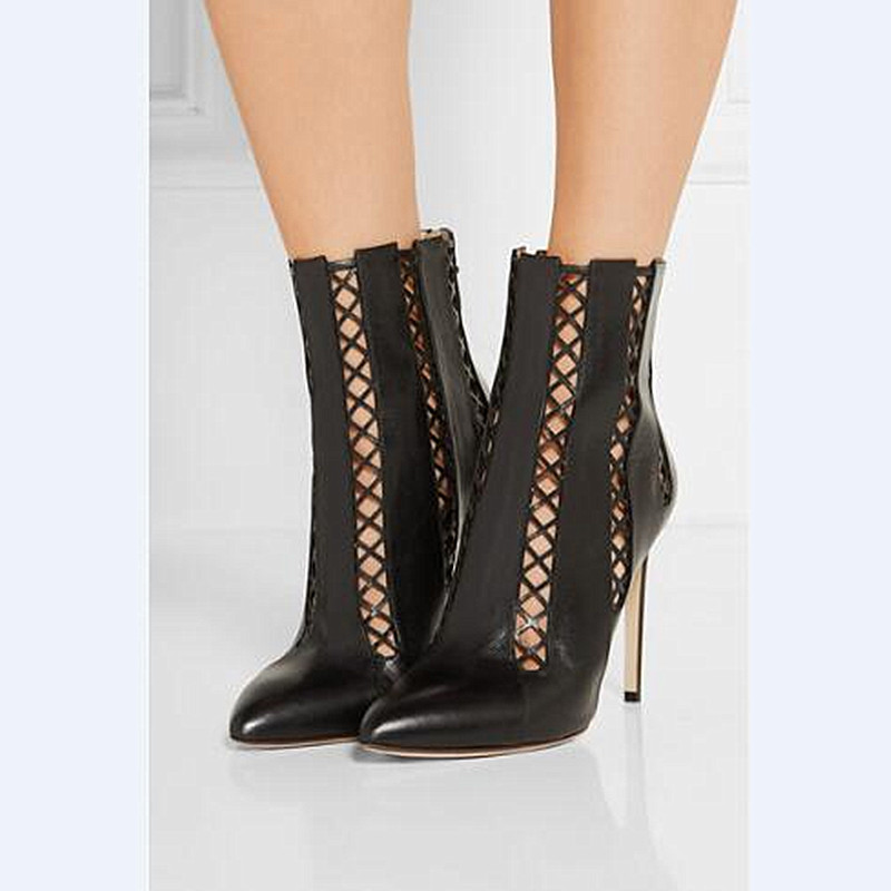 2016 Early Autumn Soft Leather Boots Female Plaid Cut-outs Ankle Boots Lady Thin High-heeled Sexy Shoes Pointed Toe Boots Women