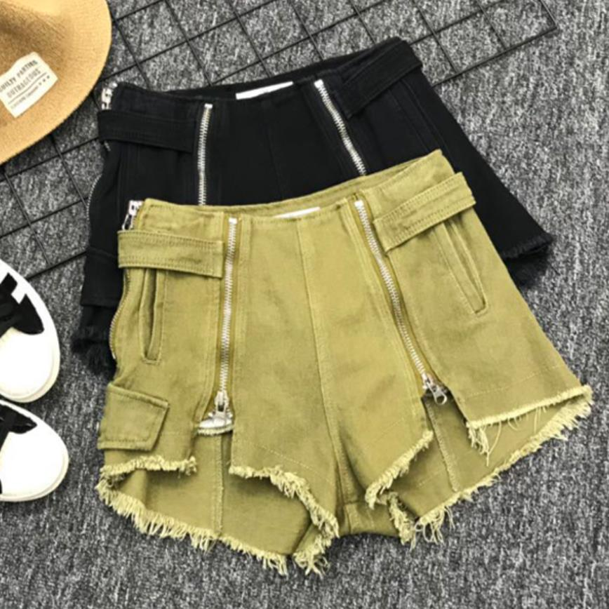 2019 SUMMER Women Tassel Hot Short WIDE LEG Zipper Open Crotch Sexy Denim Booty Sexy Jeans Shorts P