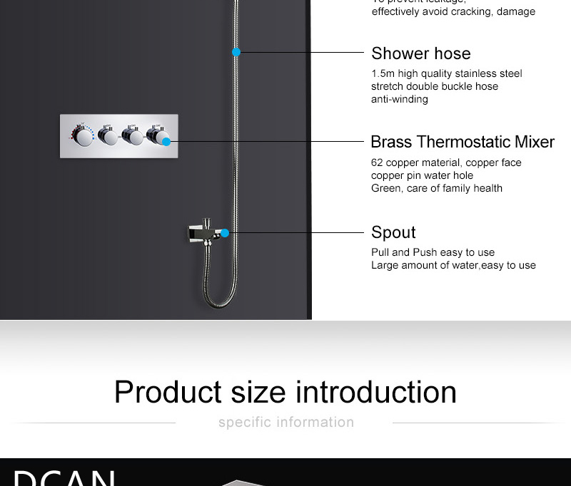 LED Ceiling Shower Head Rain Waterfall Shower Massage Jets Wall Mounted Panel Tap Sets Thermostatic Mixer (11)
