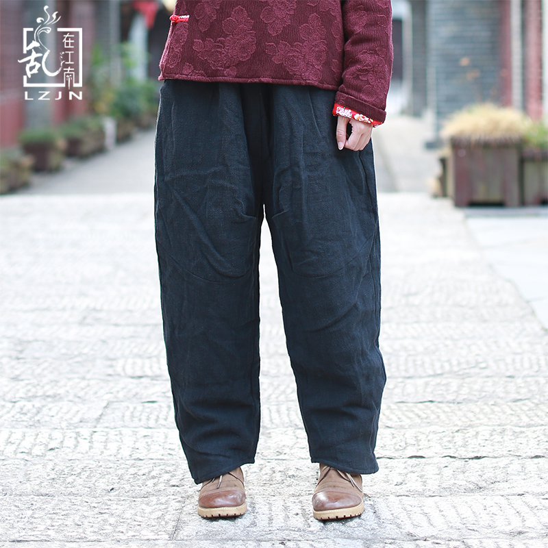 LZJN Warm Winter Trousers Thin Cotton Padded Women Long Pants Elastic Waist Black Harem Pants Linen Bottom Pantalon Femme 0944