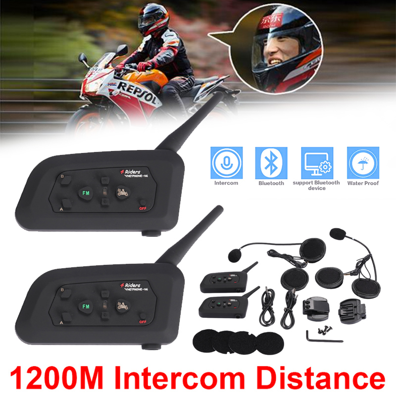 Vehemo 1200M V4 BT Multi Interphone Bluetooth Intercom Waterproof FM Motorcycle Headphone Helmet Headset Communicator 4 Riders 2016 newest bt s2 1000m motorcycle helmet bluetooth headset interphone intercom waterproof fm radio music headphones gps