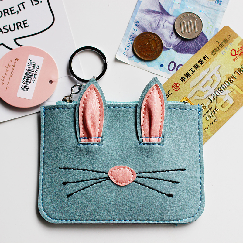 eTya Brand Women Girl Teenagers Cute Cartoon Cat Coin Purses Holders Leather Clutch Wallet Female Key Pouch Credit Card Wallets cute cartoon cat pattern pu long wallet for women watermelon red