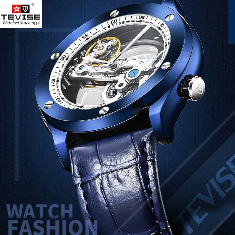 TEVISE montre homme прозрачные автоматические часы для мужчин деловые часы Мода 2018 г. Световой защита от влаги кожа наручные