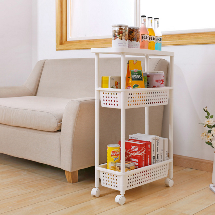 Plastic Storage Rack Sanitary Bathroom Movable Storage Rack Kitchen Cart Shelf