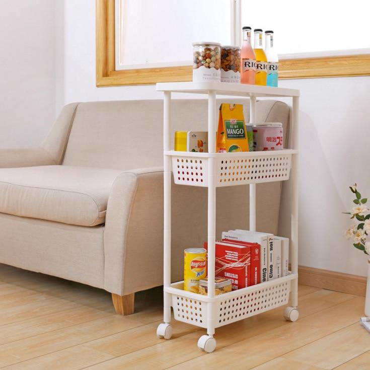 Plastic Storage Rack Sanitary Bathroom Movable Storage Rack Kitchen Cart Shelf