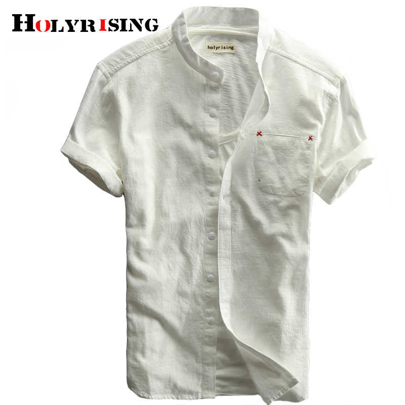 Holyrising Summer Brand Shirt Men Short Sleeve Loose Thin Cotton Linen Shirt Male Fashion Solid Color Tees M-5XL size 18878-5