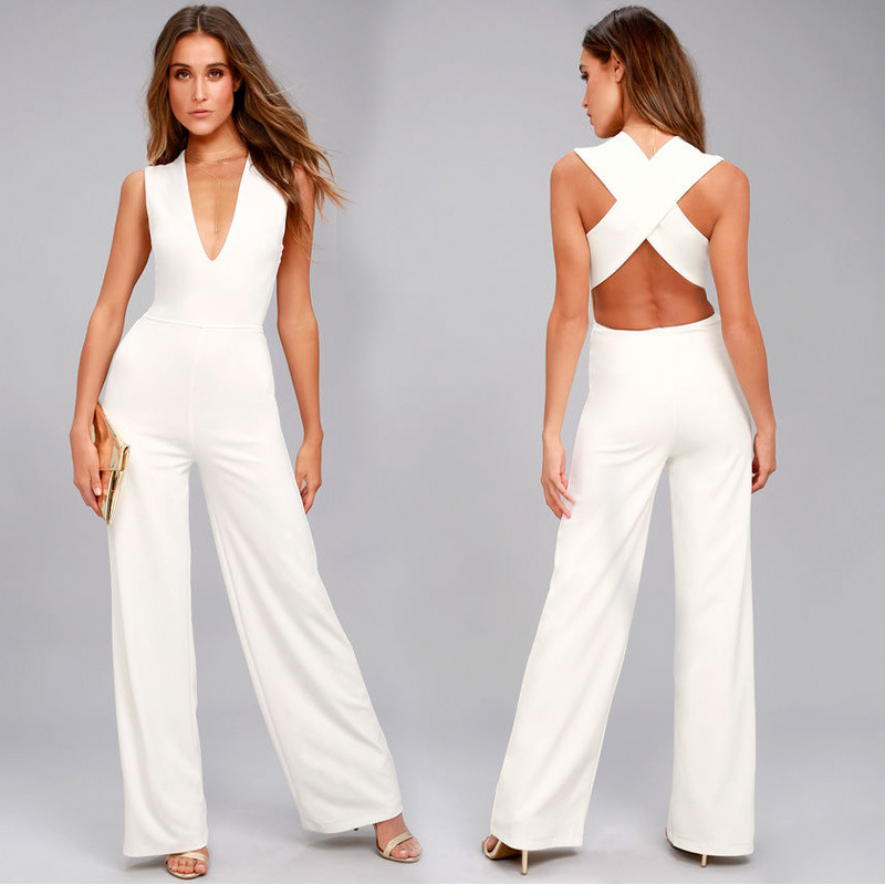 2019 Sale Polyester Bodysuit Women Sexy Bodysuit Vadim Spring And Summer New Couplet Pants Exploded Sexy V Collar Sleeveless in Jumpsuits from Women 39 s Clothing