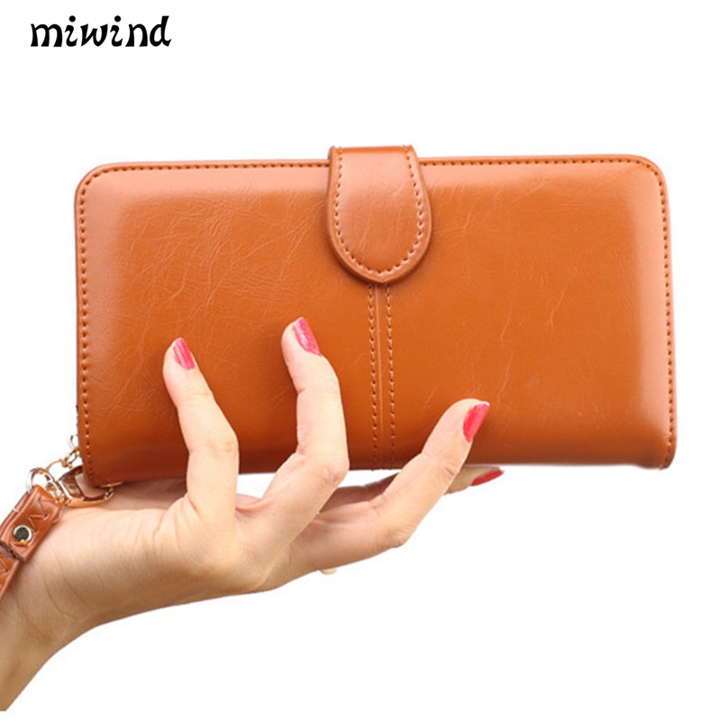 Vintage Leather Women Long Wallets Ladies Fashion Wallet Coin 3fold Purse Female Coin Pocket Card Holder Wallet Purses Money Bag women leather wallets v letter design long clutches coin purse card holder female fashion clutch wallet bolsos mujer brand