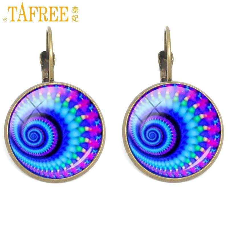 ᑎ‰Tafree Caracol patrón pendientes de clip mandala flor delicada ...