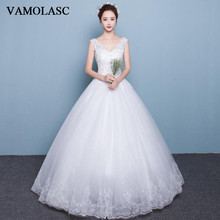 VAMOLASC Deep V Neck Lace Appliques Ball Gown Wedding Dresses Elegant Sequined Tank Backless Bridal Gowns