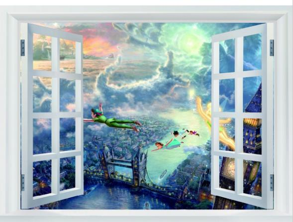 24x36 Inch Art Silk Poster Tinkerbell And Peter Home Decoration Wall Sticker Print Stylish