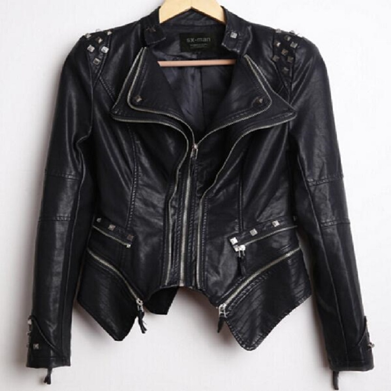 South Korea Women's New Autumn Fashion Rivet Jacket Short Design Motorcycle PU   Leather   Zipper Jackets Large Size S-6XL