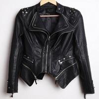 South Korea Women S New Autumn Fashion Rivet Jacket Short Design Motorcycle PU Leather Zipper Jackets
