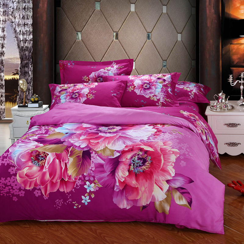 Flowers Bedding Set 100 Cotton Very Soft Queen Size Bed Sets Bedclothes Line Wedding Decoration Free Shipping