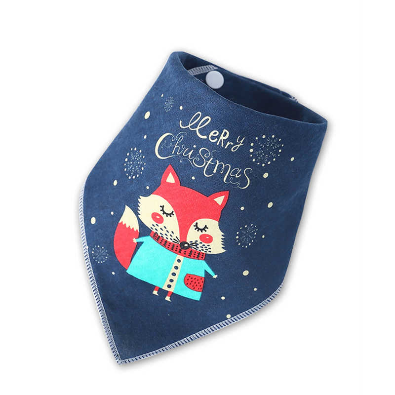 Christmas Baby Bibs Boy Girl Bandana Bib Burp Cloth Print Animal Triangle Cotton Baby Scarf Meal Collar Burp Baby Accessories