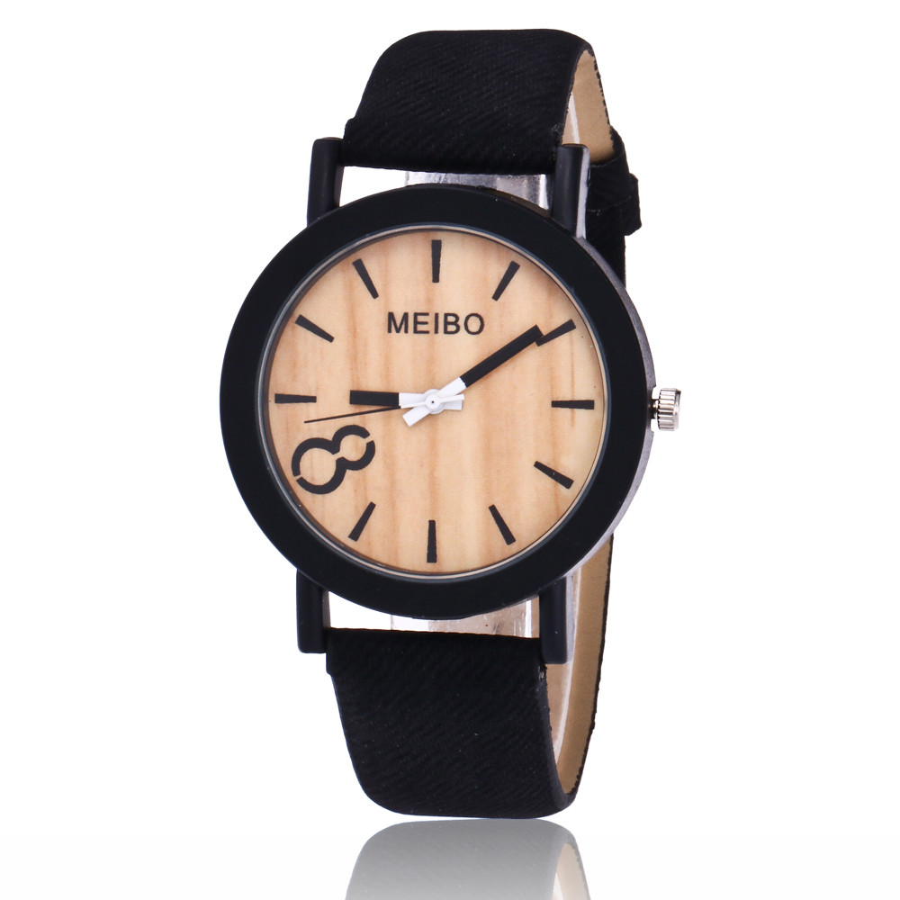 2018 Hot Sale Watches Modeling Wooden Quartz Mens Watch Casual Wooden Color Leather Watch Ladies Dress Wrist Watch Wholesale P40(China)
