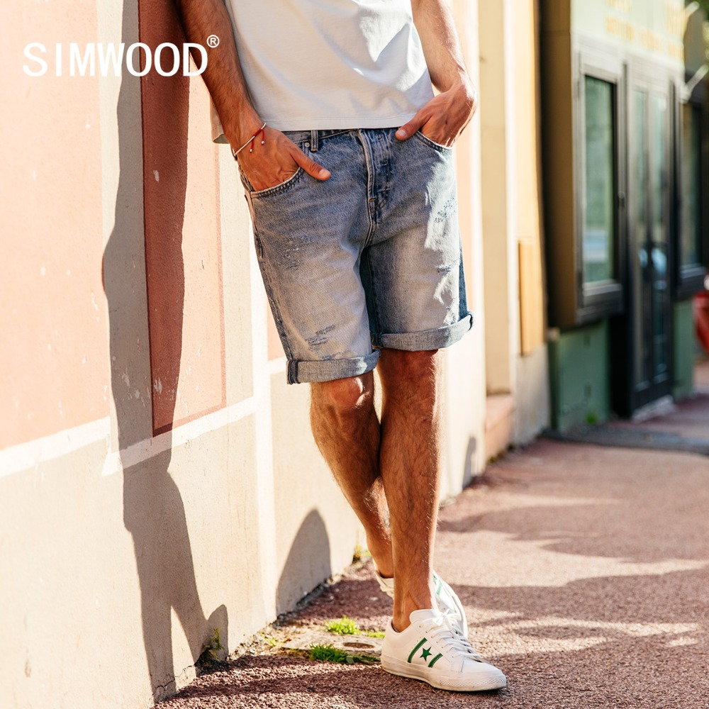 SIMWOOD New Arrive 2018 Summer Denim Shorts Men Slim Fit Hole Fashion Worn-out Jeans Trousers Plus Size Brand Clothing 180094 qmgood men s jeans europe and the united states summer new men hole paste cloth men s jeans personalized fashion denim trousers