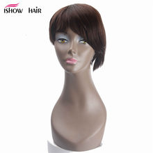 Short Bob Human Hair Wigs For Black Women 8inch Brazilian Straight Human Hair wigs Natural Black Brown Non Remy Hair Wigs(China)