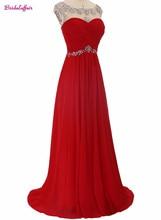 KapokBanyan Real Photo Red Scoop Neck Appliques Prom Dresses 2017 Backless Long Chiffon Party Gown Cheap Vestido de festa