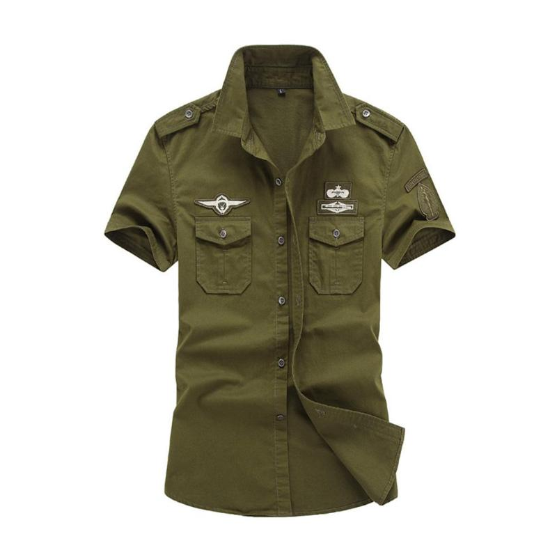 Summer Casual Men Shirt Short Sleeve Pocket Military Camisa Masculina Cool Pure Cotton Plus Size Solid Color Loose Cargo Shirt