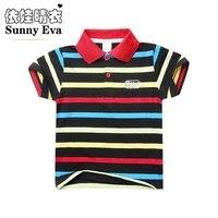 Boys Polo 4styles 2016 Boys Fashion Children Clothing Kids Cotton Striped Polo Short Sleeve Colourful Stripe