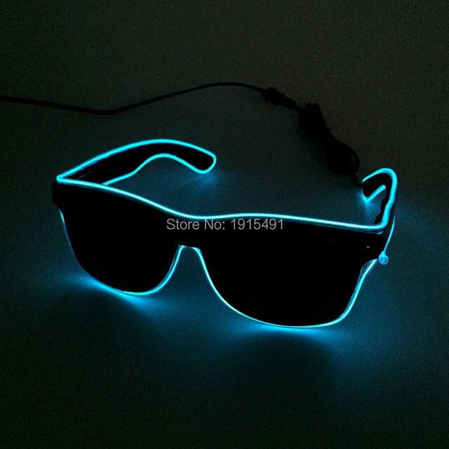 dcf35cebcbf85 Voix Sensible Ciel Bleu EL Fil Noir Lentilles Lunettes Vacances éclairage  Au Néon LED Light Up