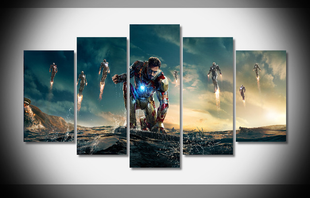 6636 iron man 3 poster movie posters framed gallery wrap art print home wall decor wall - Movie Posters Framed