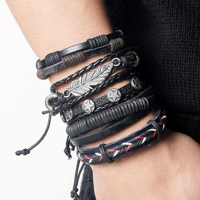 VKME Vintage multi-layer leather bracelet ladies men's bracelet jewelry bracelet new style party gift bohemianladies gifts