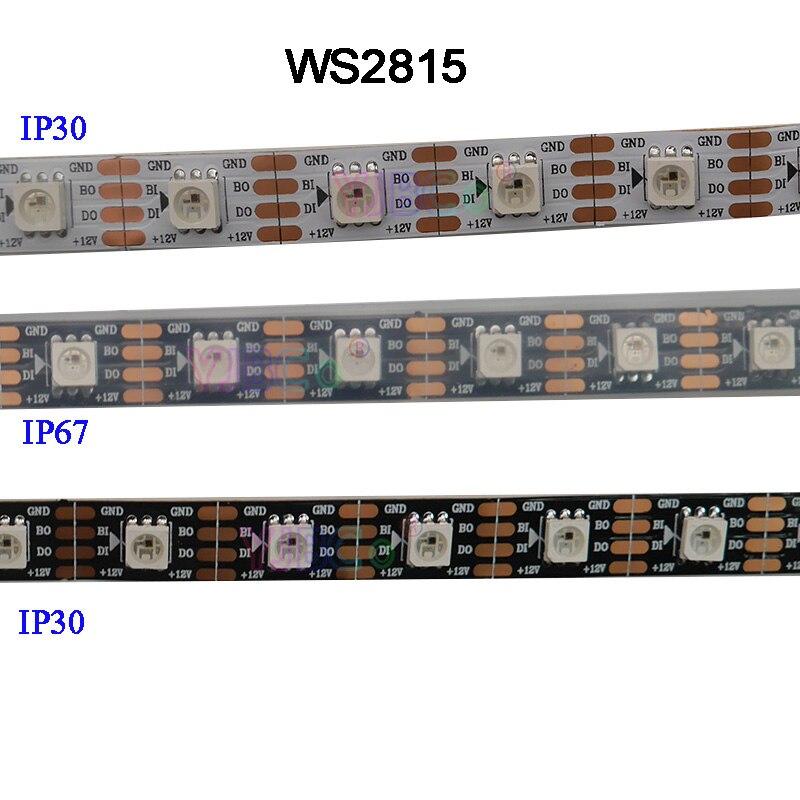 1m/3m/5m DC12V WS2815 Pixel Led Strip Light,Addressable Dual-signal Smart,30/60/144 Pixels/leds/m Black/White PCB,IP30/IP65/IP67