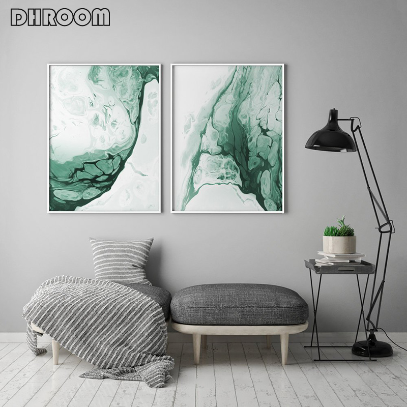 Abstract Forest Green Wall Art Painting Marble Agate Canvas Posters Minimalist Prints Modern Decoration for Living Room in Painting Calligraphy from Home Garden