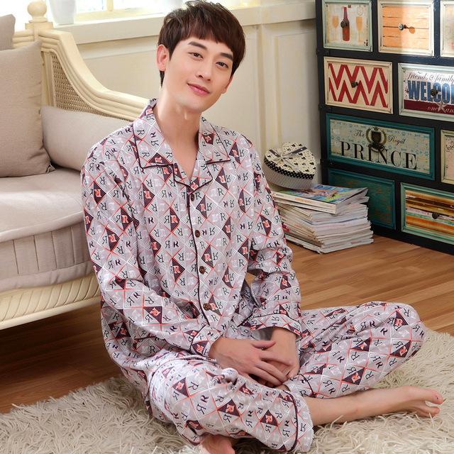 Extremidade superior Dos Homens do Algodão Pijamas Pijamas Dos Homens Carta Impressão de Algodão Pijama conjuntos de Sono Tops e Calças M L XL XXL XXXL Mais tamanho