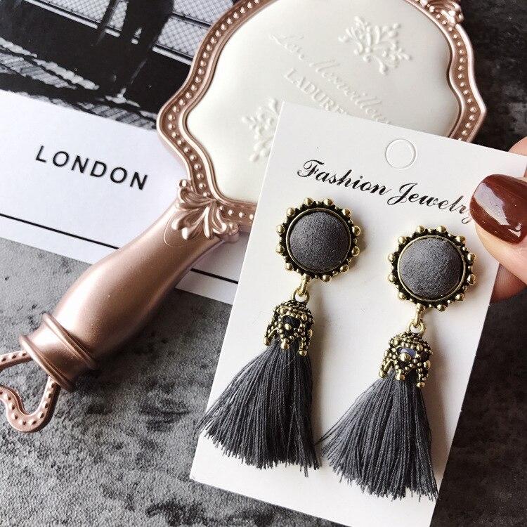 Women Fashion Jewelry Vintage Velvet Ball Statement Fringed Drop Earring Female Jewellery ,Ear Studs gray a 10