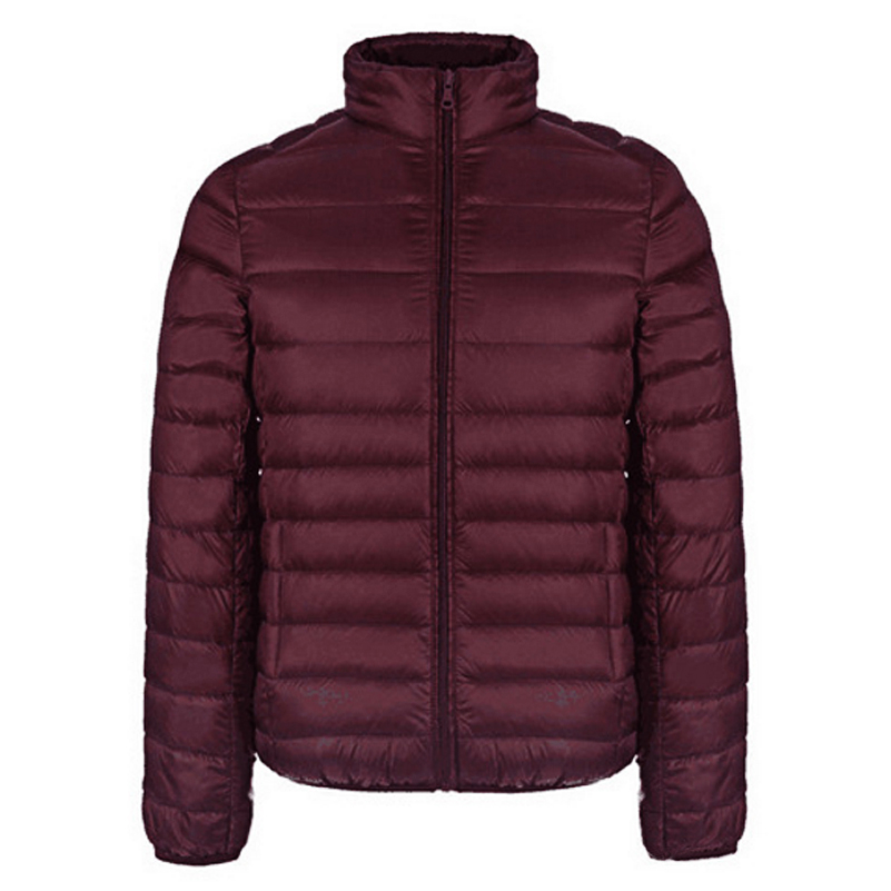 Cotton-Padded Solid Parkas Ultra-light Slim Fit Stand