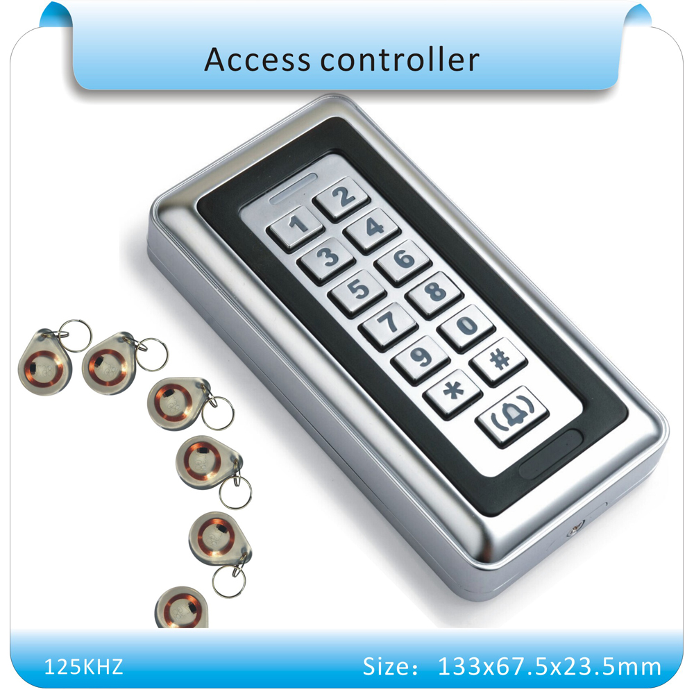 Metal casing 125KHZ  Electronic RFID Proximity Entry Door Lock Access Control System with 10pcs crystal keyfobs metal rfid em card reader ip68 waterproof metal standalone door lock access control system with keypad 2000 card users capacity