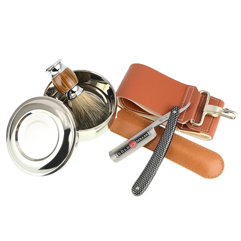 ZY 5pcs/set Shaving Razor Gold Dollar Straight Razor+Leather Sharpening Strop+Badger Shaving Brush+Shave Soap Bowl For Man