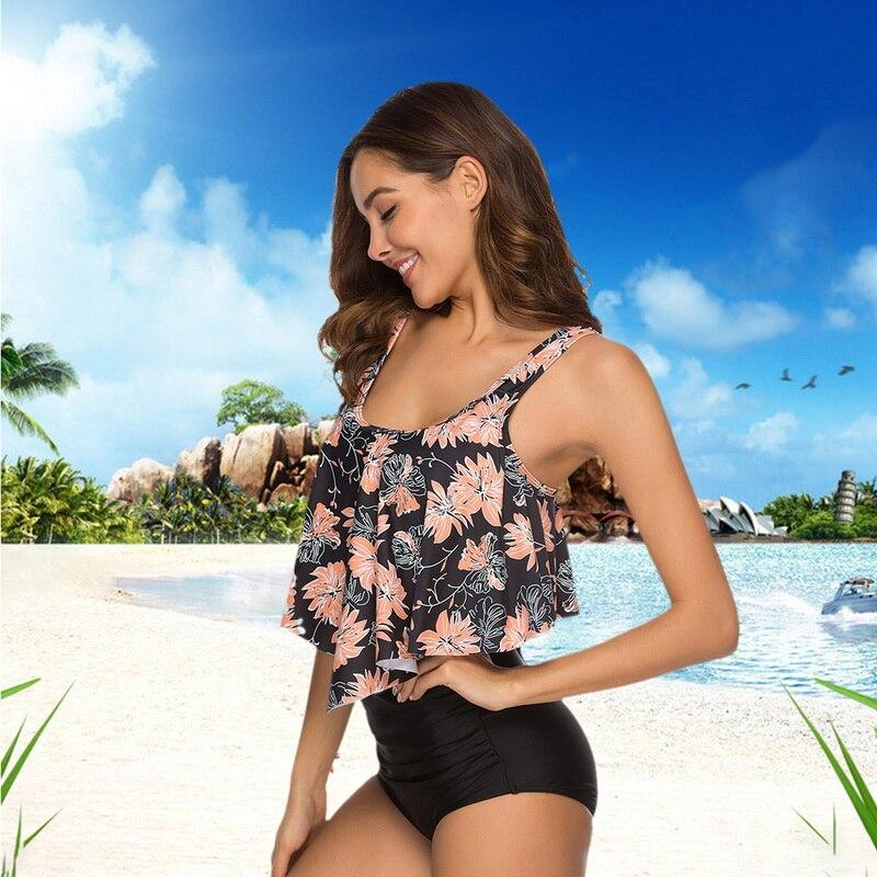 HTB1NMeKbozrK1RjSspmq6AOdFXaJ 2019 New Sexy Women Bikini Set Mujer Ruffle Floral Printed Swimsuit Push Up High Waist Bikini Biquinis Brazilian Swimwear Summer