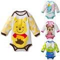 Verão Macacão de Bebê Meninos Meninas Bonito Dos Desenhos Animados Manga Longa T-Shirt Do Bebê Recém-nascido Do Bebê Animais Macacão Escalada Roupas
