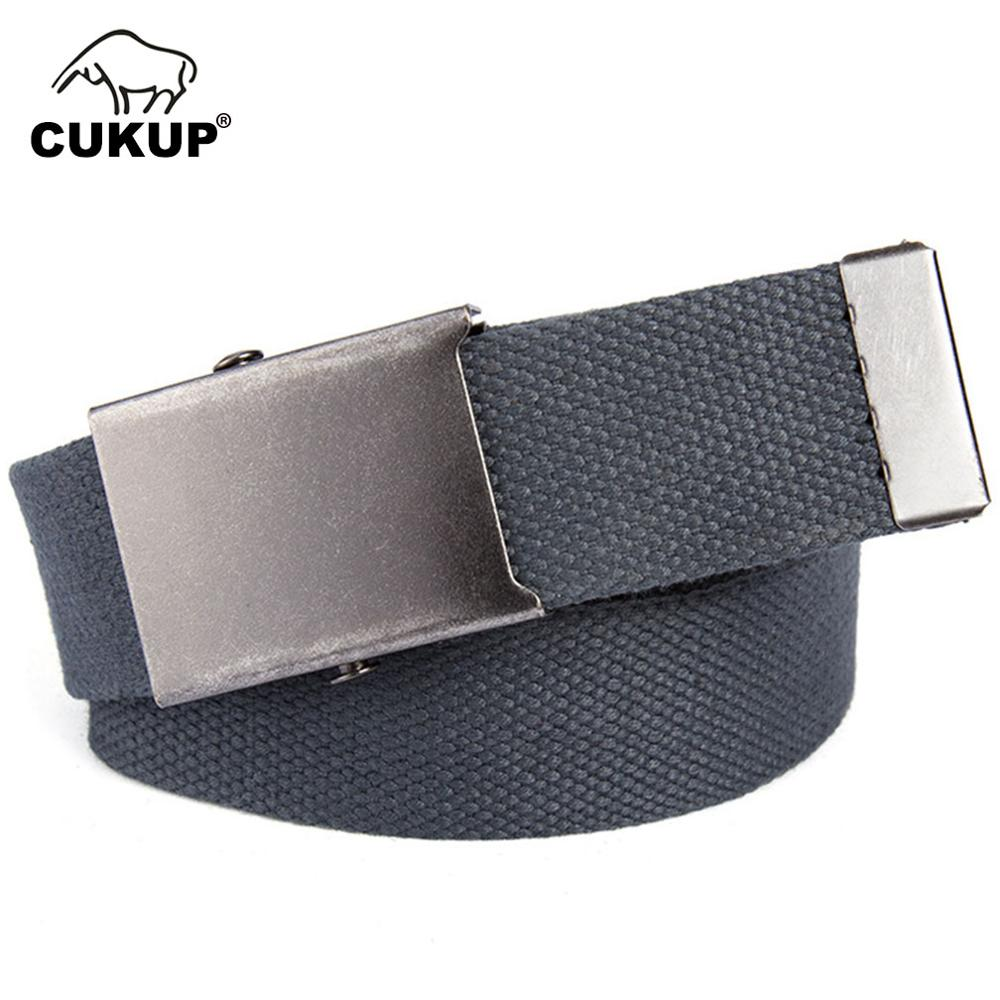CUKUP 2018 Design Retro Metal Buckle Belt Quality Canvas Belts Waistband Leisure Waist for Men Jeans Accessories 120cm CBCK110