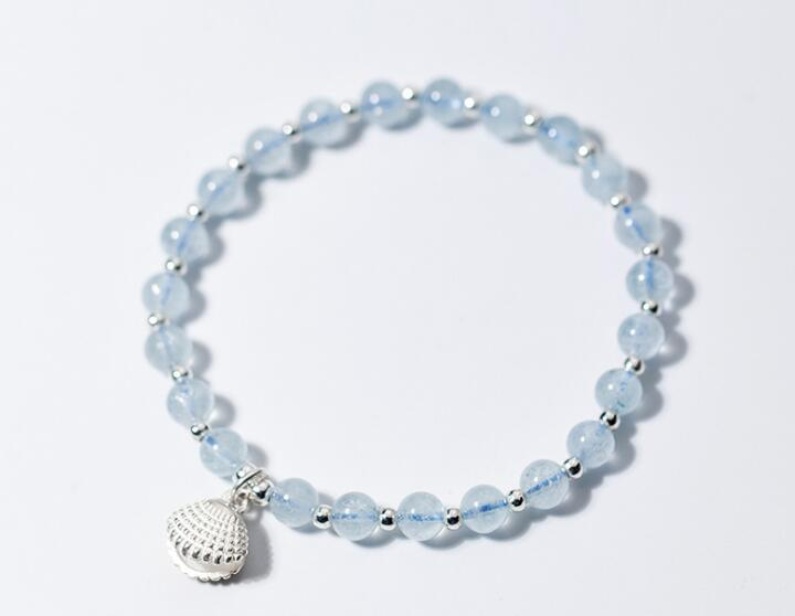 5mm 100% Authentic Real. 925 Sterling Silver Fine Jewelry Shell Pearl With Blue Aquamarine Stone &Beads Anklet Bracelet GTLS703