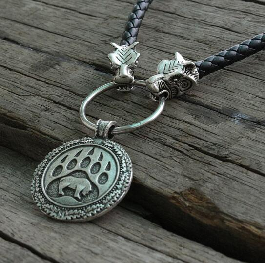 lanseis 1pcs Viking bear paw pendant slavic bear talisman chrm pagan men necklace Nordic pendant.Celti talisman
