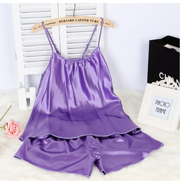 Ladies Sexy Silk Satin Pajama Set Sleeveless Pyjama Femme Round Neck Pijama  Set Plus Size Nightwear + Short Pants Indoor Wear 7d350b137